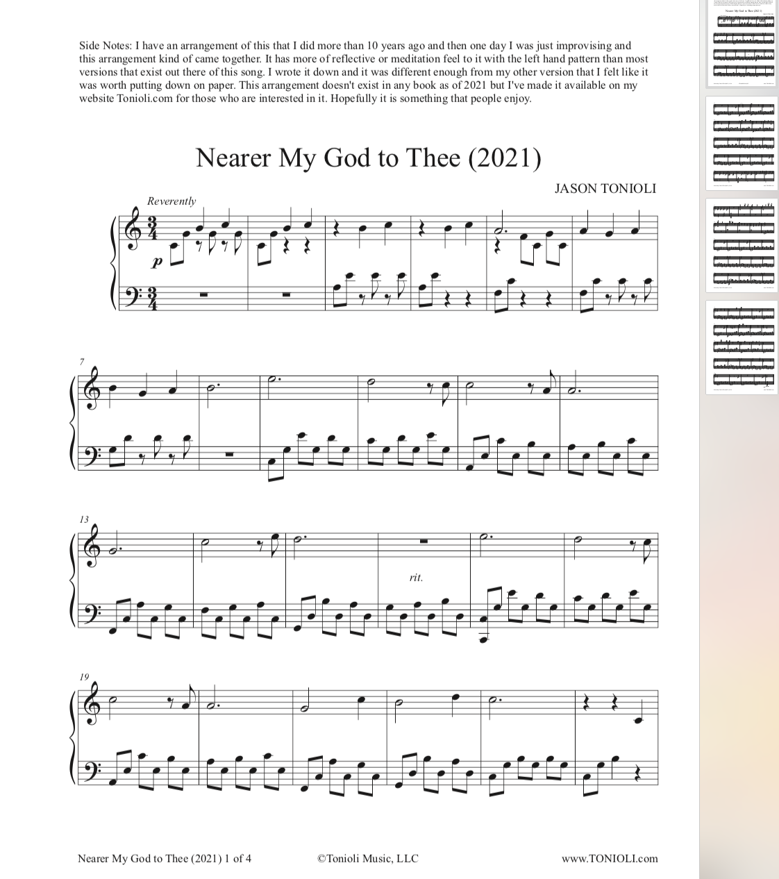Nearer My God to Thee (2021 Arrangement) - Piano Solo Sheet Music